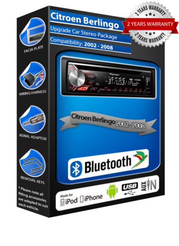 USB CD MP3 Aux In Bluetooth Paquete Citroen Berlingo DEH-3900BT estéreo de coche
