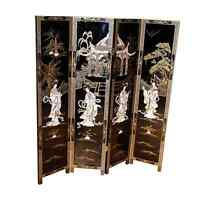 Mother Of Pearl Oriental Furniture - Black Lacquer 4 Panel Screen