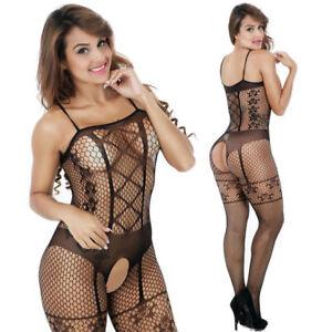 62bda80df4 Image is loading Women-Lace-Fish-Net-Sexy-Lingerie-Bodystocking-Nightwear-