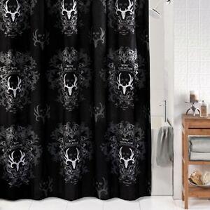 Image Is Loading Black Bone Collector Bath Shower Curtain Bathroom Hunting
