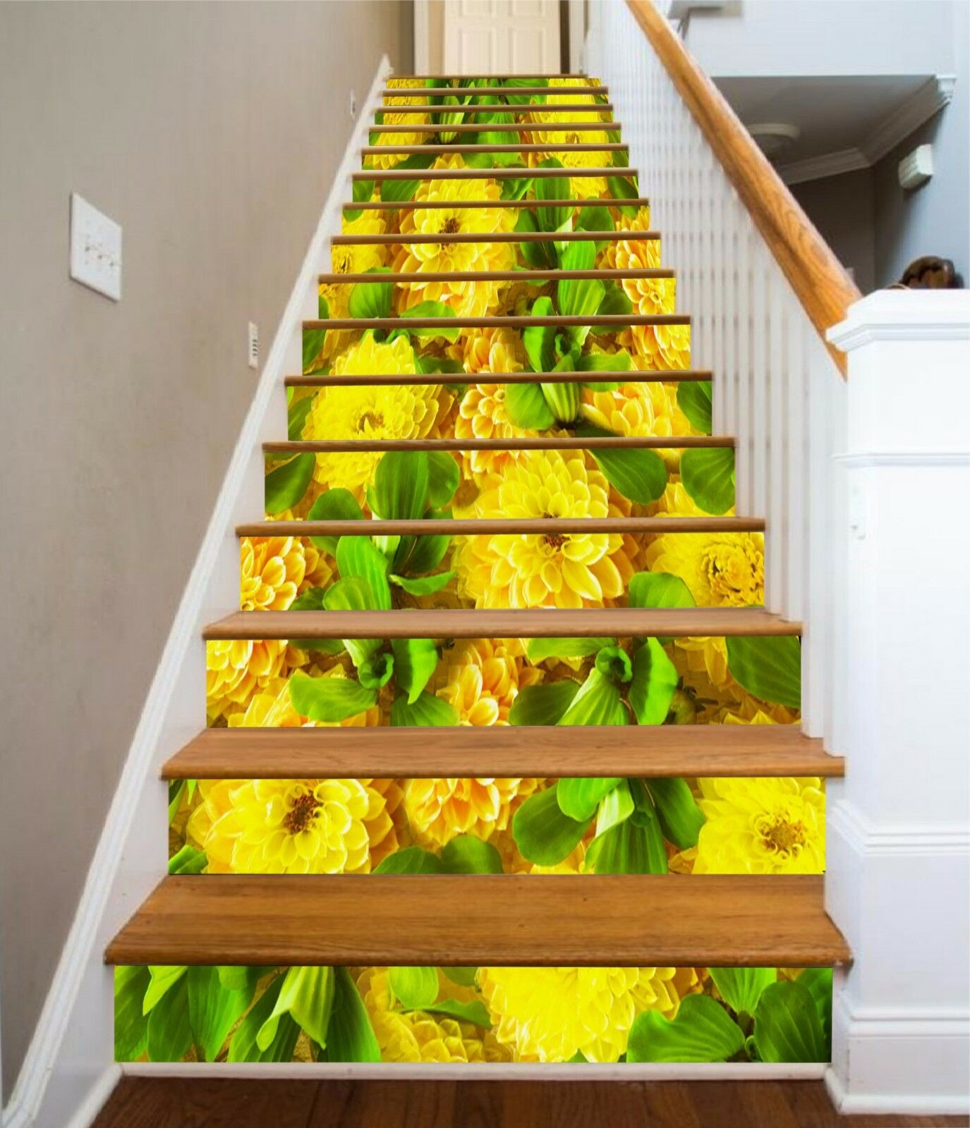 3D Gelb Flower 434 Risers Decoration Photo Mural Vinyl Decal Wallpaper CA