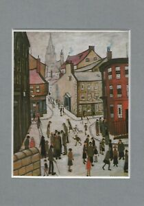L-S-LOWRY-IN-MINIATURE-BERWICK-UPON-TWEED-1938-VINTAGE-SMALL-MOUNTED-PICTURE