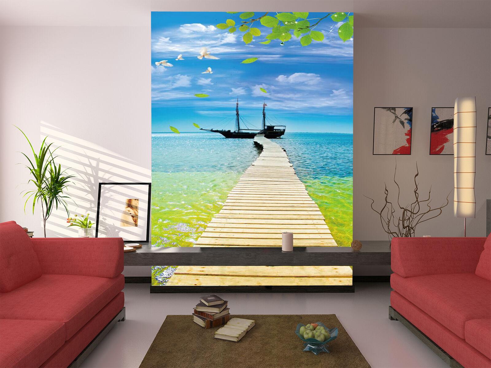 3D Mer Navire 17 Photo Papier Peint en Autocollant Murale Plafond Chambre Art