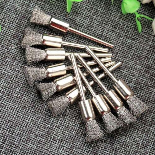 """10x Pen Shape Stainles Steel Wire Brush 1//8/"""" Shank For Grinder Drill Rotary Tool"""