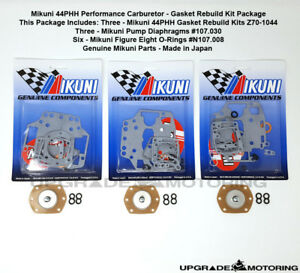 MIKUNI-44PHH-CARB-GASKETS-REBUILD-KIT-X3-W-PUMP-DIAPHRAGM-FIG-8-ORING-240Z-SOLEX
