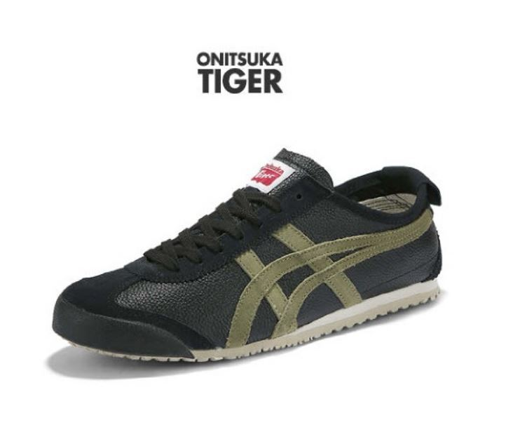 Asics Onitsuka Tiger MEXICO 66 Vintage Negro Oliva, zapatos tenis de moda