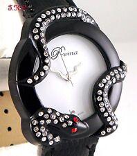 Designer Deco Black Snake Serpent Ladies Leather Wag Watch w/ Swarovski Crystals