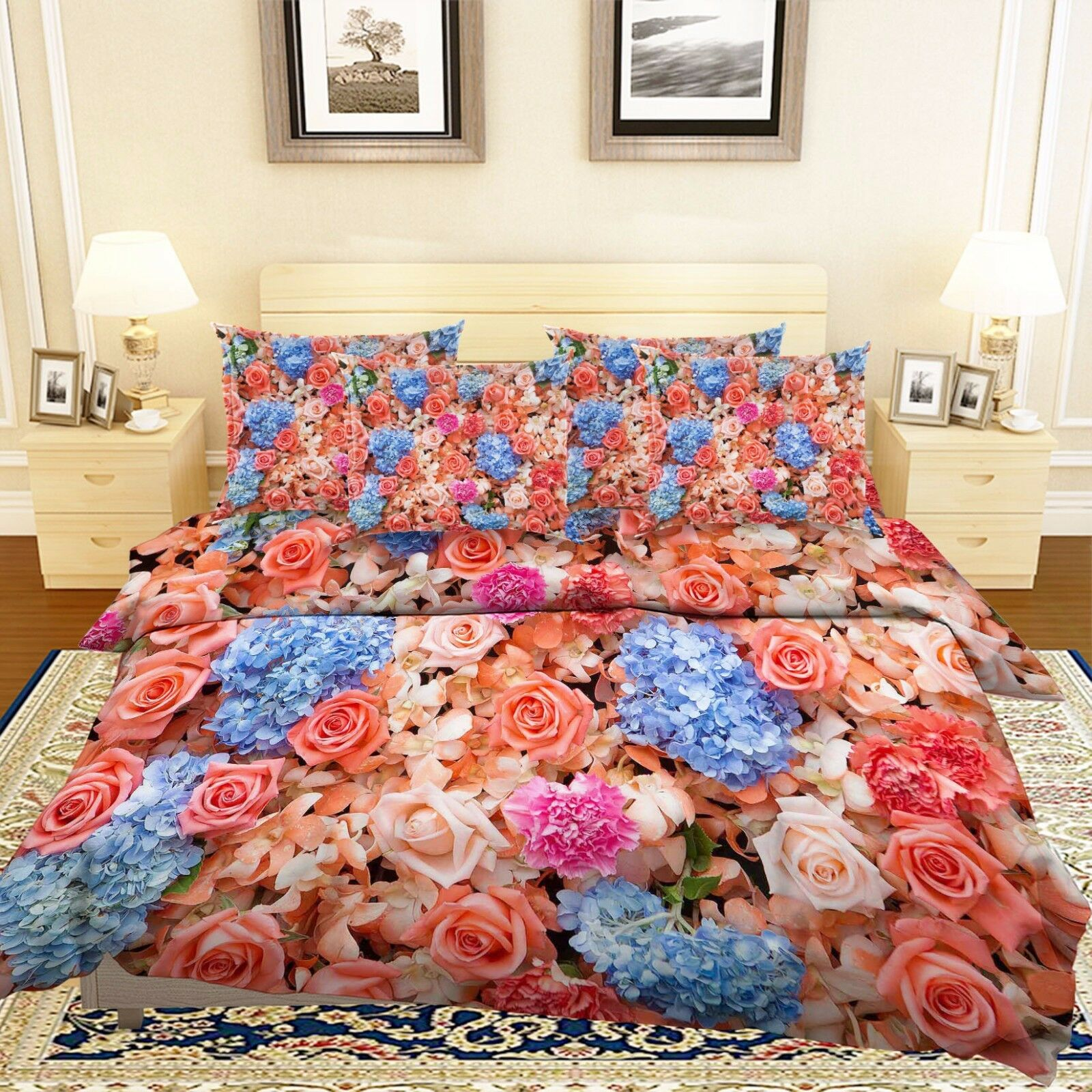 3D Dense Flowers Pattern 5 Bed Pillowcases Quilt Duvet Cover Set Single Queen CA