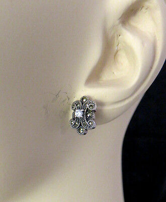 Judith Jack Sterling Silver Pierced Earrings Rhinestone Marcasite Designer 533g