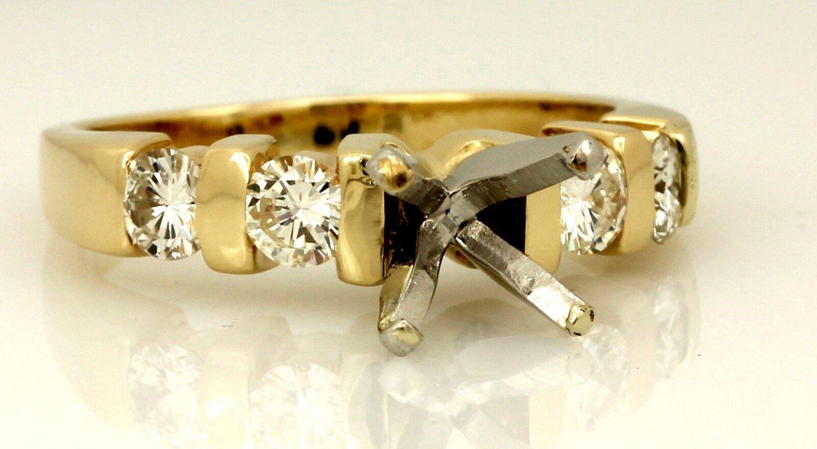 14k yellow gold engagement ring semimount 0.62ctw round diamond 6.5mm M&M estate