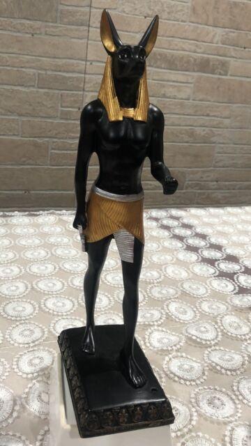 Egyptian Anubis Jackal God of the Underworld Holding Cobra Staff Statue