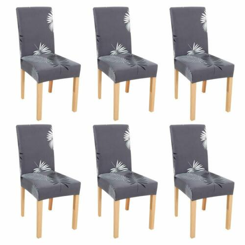 4//6 Pcs Chair Covers Dining Wedding Stretch Spandex Seat Covers Home Slipcovers
