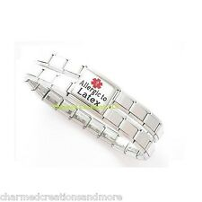 9mm Italian Charm Shiny Medical Alert Bracelet Allergic To Latex Mega Link