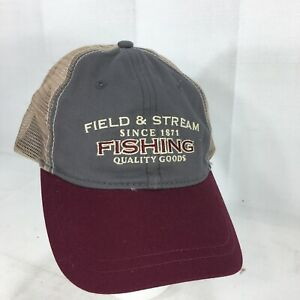 Field-amp-Stream-Fishing-Cap-Baseball-Hat-Stone-Maroon-Snapback-Mesh-Back-Hunting
