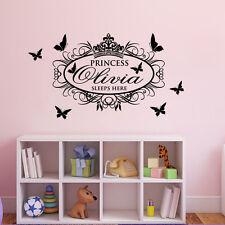 Princess Sleep Here Custom Name Bedroom Wall Decoration Decal Vinyl Wall Sticker
