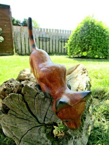 Fair Trade Hand Carved Made Wooden Shelf Cat Feline Sculpture Ornament Statue