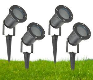 GU10-Outdoor-Garden-Spike-Ground-Mount-Or-Watt-Light-IP65-Matt-Black-Pack-Of-4