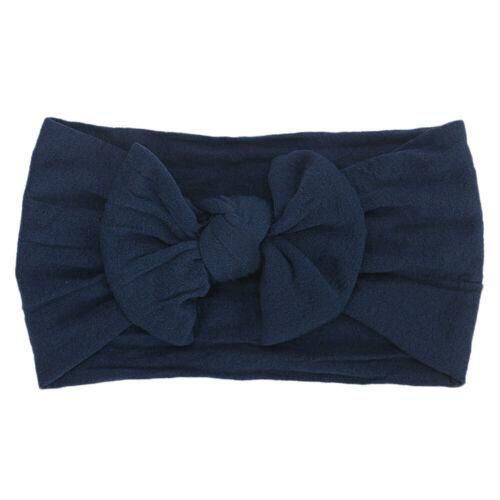 1PC Cute Toddler Baby Girls Pure Color Nylon Bowknot Headband Hairband Headwear