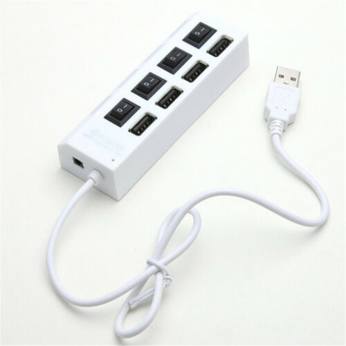4 Port USB 2.0 Hub On//Off Switches AC Power Adapter Cable for PC Laptop WA