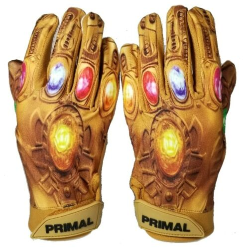 """Primal Football Adult Thanos Receiver Gloves /""""Power Stones/"""" Size  Large"""