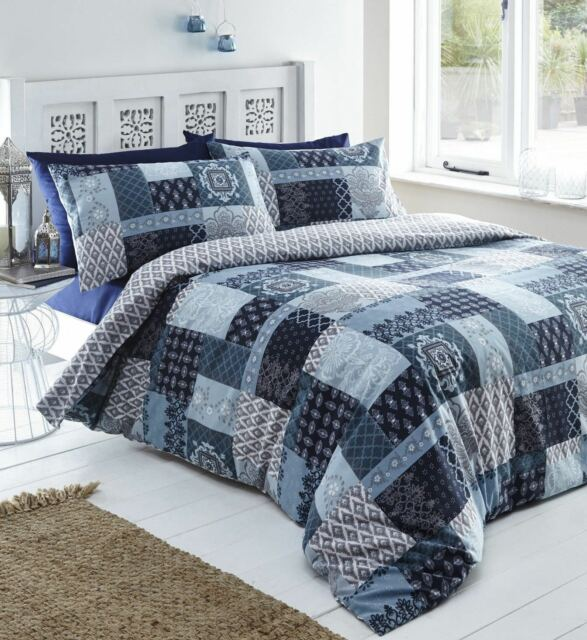 Navy Blue Sky Remi Fl Damask Patchwork Superking Size Duvet Cover Set