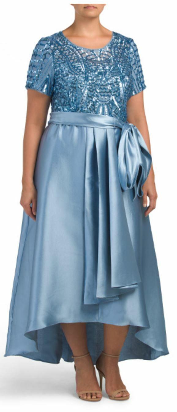 R&M Richards Blue Formal Hi-lo Embroidered Sequin Dress 20W