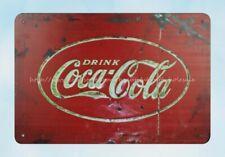 Coca Cola 1950s 8in x 12in Vintage Metal Sign Trink Drink
