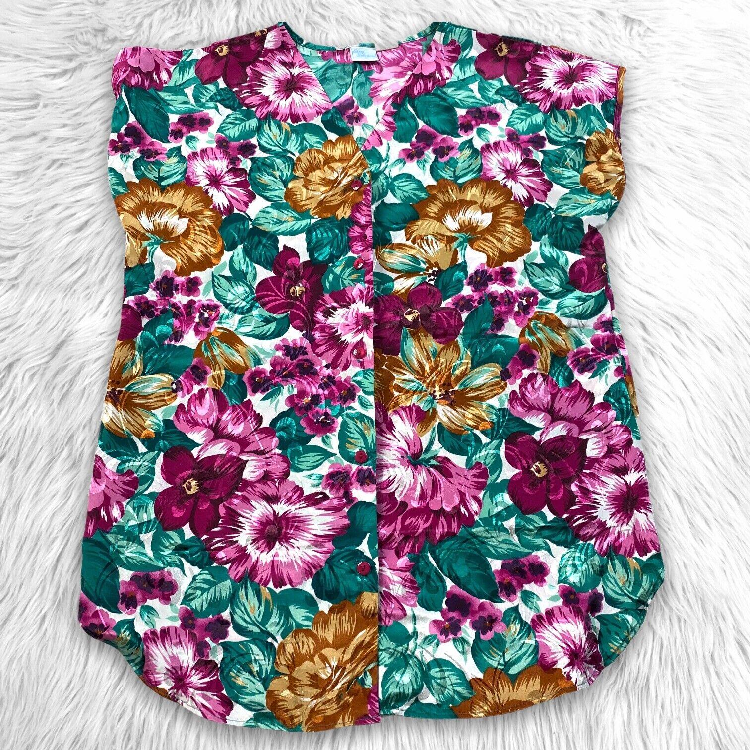 Vtg 90's Satin Floral Sleep Top Shirt Gown Size 1X Cottagecore