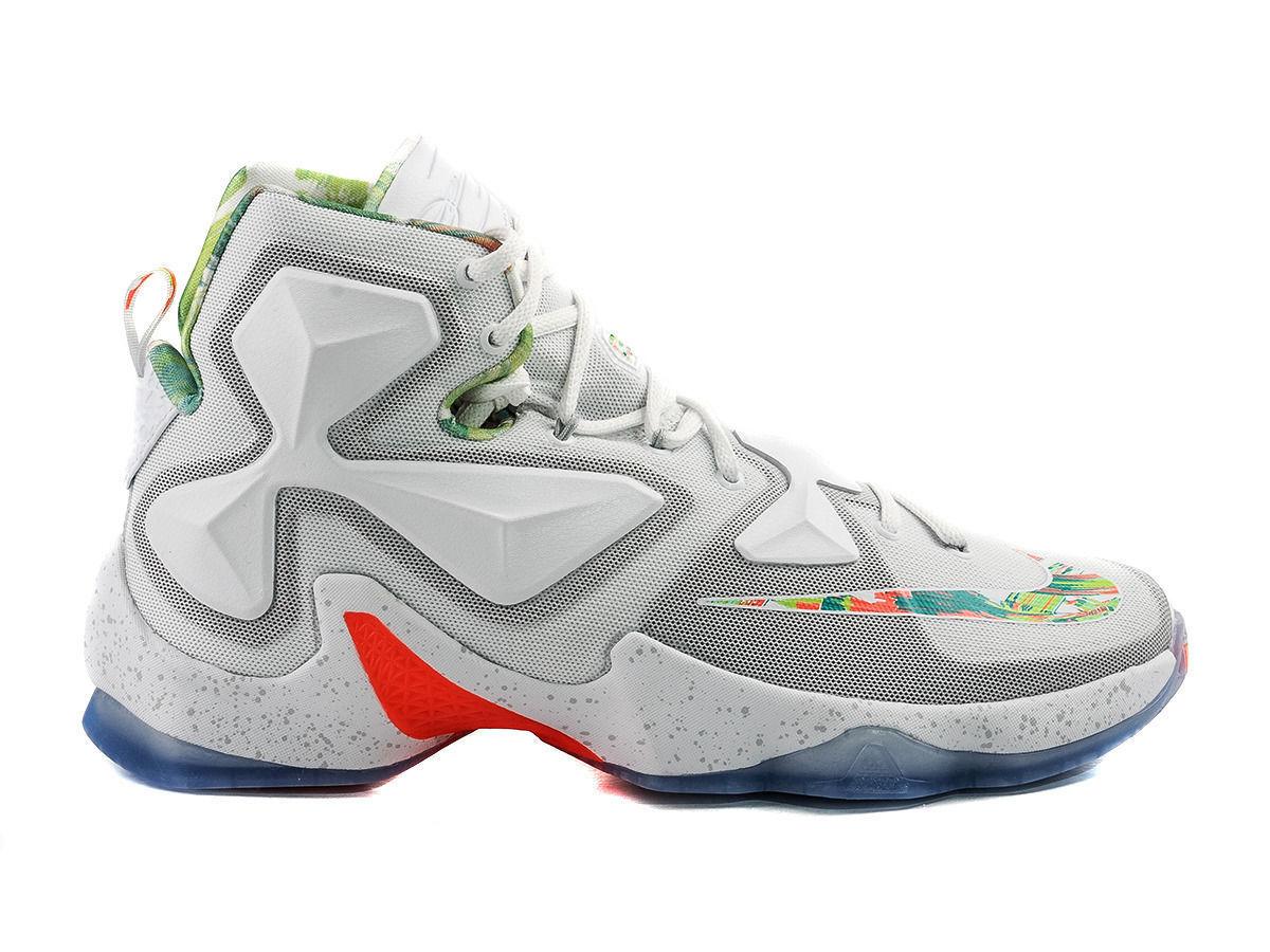NIKE Lebron XIII Easter Basket Ball Shoes White/Platinium/Mango/Green 807219-018