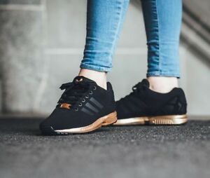 detailed look 722ae 4bee5 Image is loading WOMENS-ADIDAS-ZX-FLUX-CORE-BLACK-COPPER-ROSE-