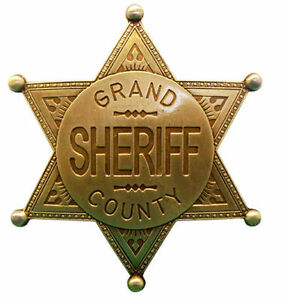 gold grand county sheriff police badge wild west us law enforcement