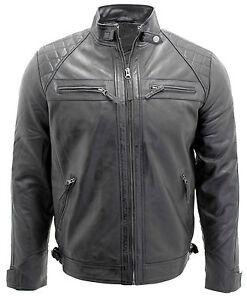 Men's Retro Black 100% Leather Racing Quilted Biker Jacket | eBay : quilted racing jacket - Adamdwight.com