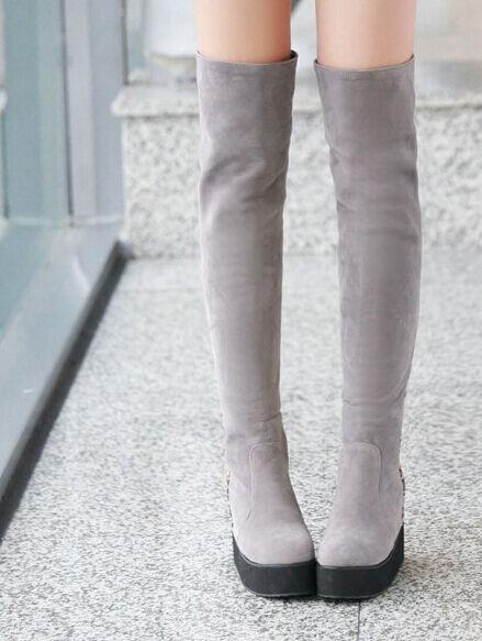Stiefeletten stiefel schenkel frau plattform keilabsätze 5 cm elegant