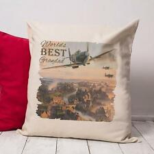 Personalised Fighter Plane Dad Grandad Vintage Cushion Canvas Cover Gift NC510