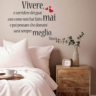 Adesivo Murale Wall Stickers Frase Frasi Vasco Vivere Amore Love