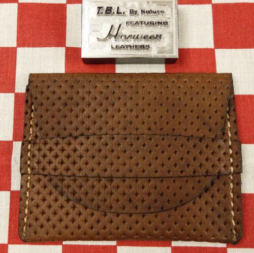Horween Dark Oak Perforated Horse Leather One Pocket Flap Card Holder Wallet