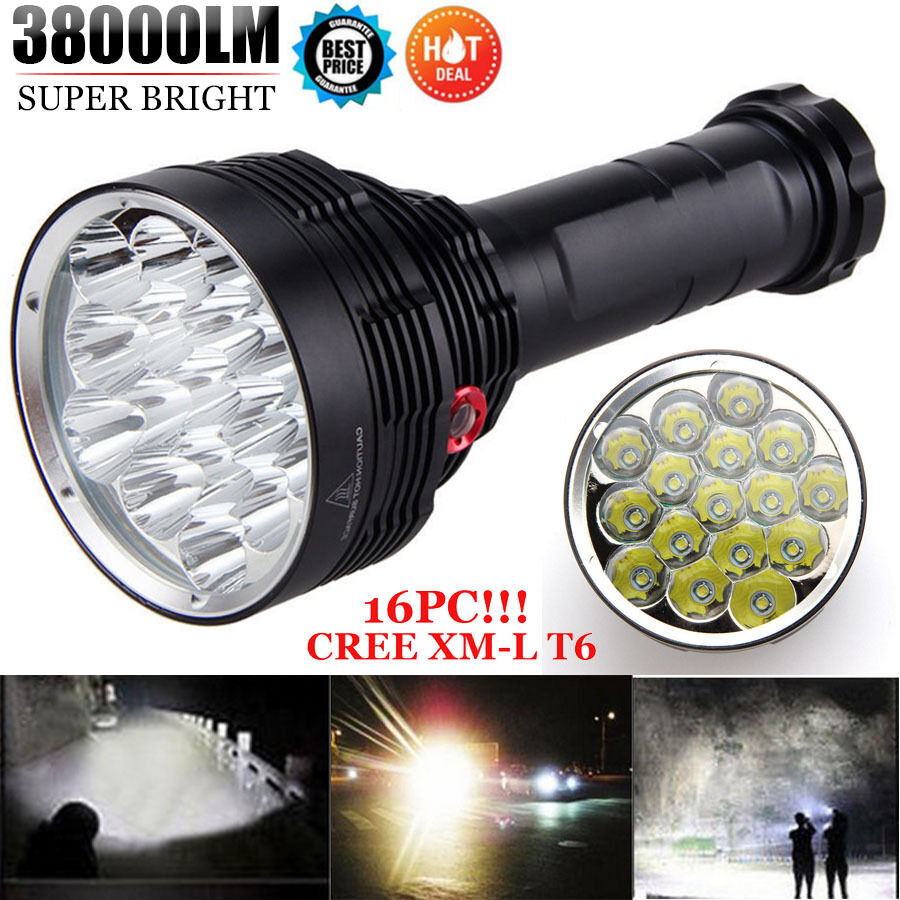 38000 Lumens Lumens 38000  Waterproof 16x XM-L T6 LED Flashlight 3 Mode Bright Torch Light a52ab7