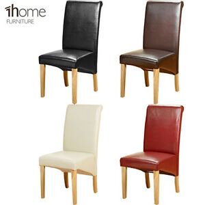 Details About Pu Leather Dining Chairs Wooden Legs Room Home Restaurant Black Brown Ivory Red