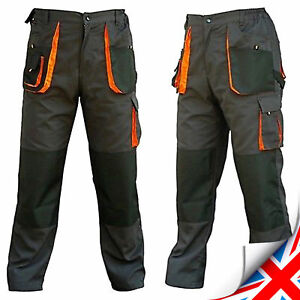 Mens-Multi-Pocket-Cargo-Heavy-Duty-Pro-Work-Trousers-Triple-Stitched-Knee-pad