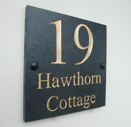 High Quality Engraved Slate House Door Sign Name Number Plaque 20cm x 20cm