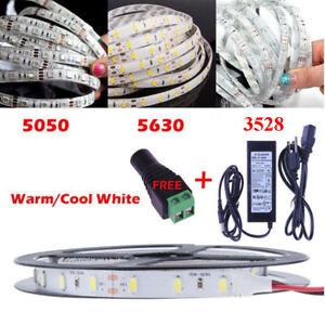5M-300Leds-3528-5050-5630-SMD-White-LED-Flexible-Strip-Light-Adapter-DC-Kit