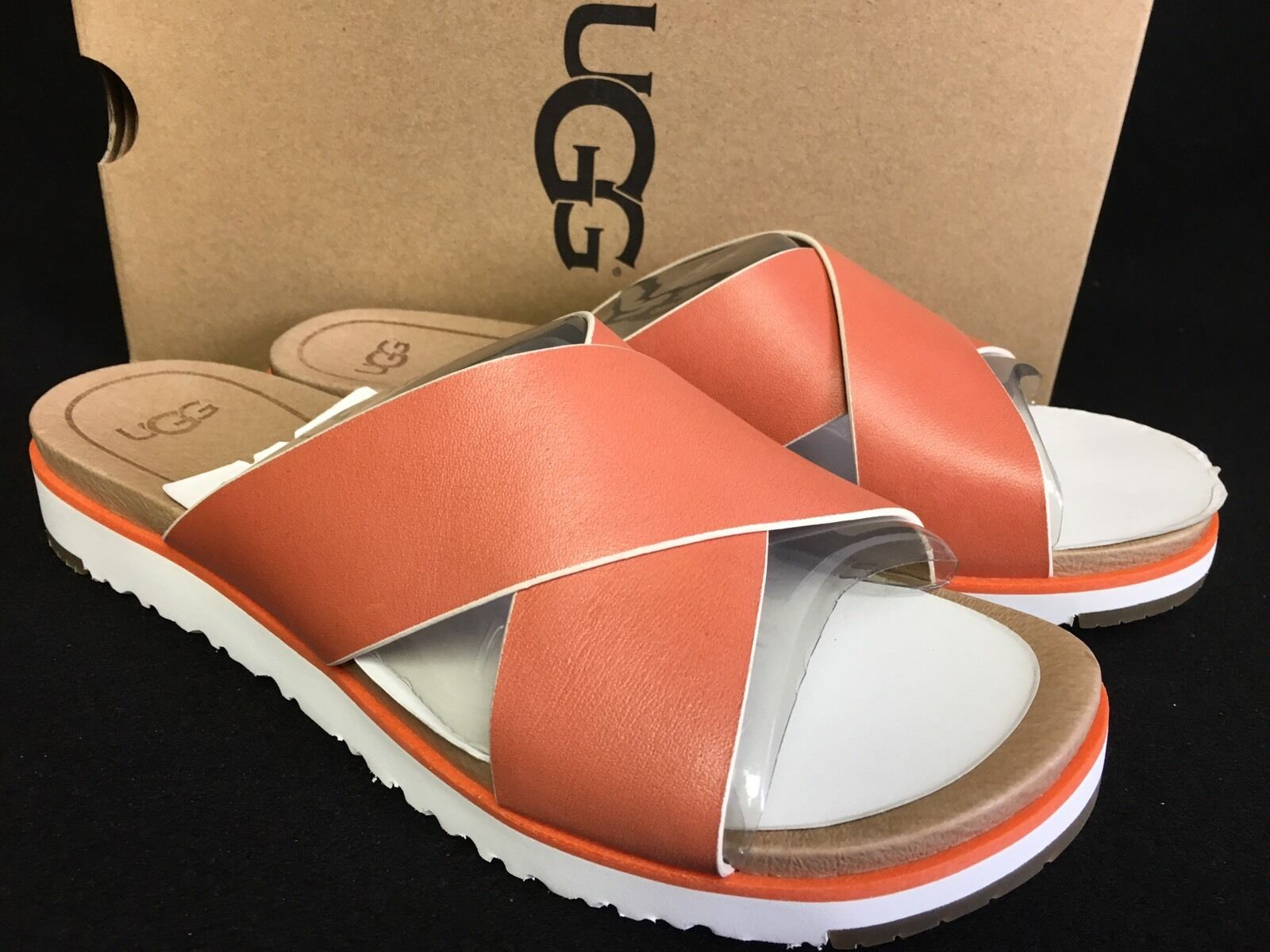 03ed318d0c3 UGG Kari Fire Opal Leather Flat Sandal Women`s Slides Flip Flops ...