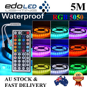 Waterproof 5050 Rgb 5m 300 Led Smd Leds Strip Light 12v 44 Key Ir Controller Ebay