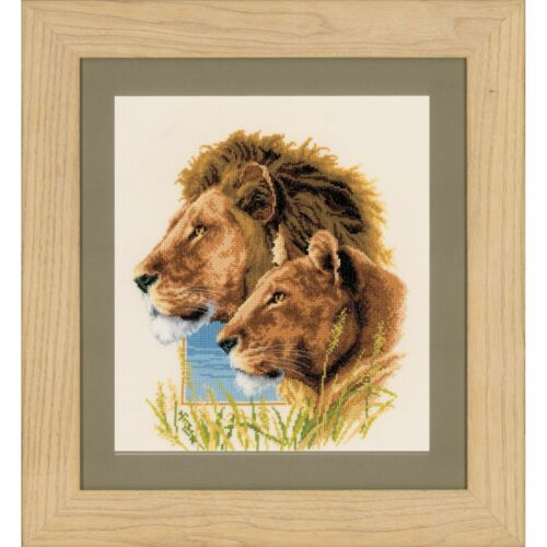 VERVACO 0143773 Couple de Lions Kit Broderie Point de Croix Compté