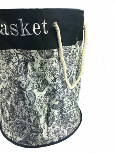 3 X Laundry Bag Round Fabric Washing Basket Clothes Black /& White 87L