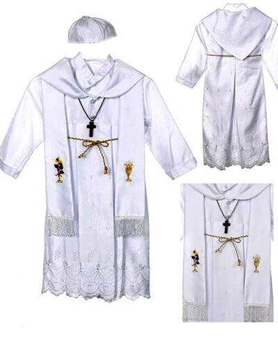 New White Infant Boy /& Toddler Christening Baptism Gown New Born to 30 months