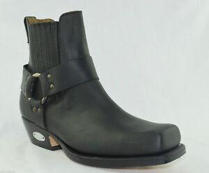 Loblan véritables Square de bikers cowboy Western à carreaux 096 noires Bottes en bottes en cuir Uw1qXEZ