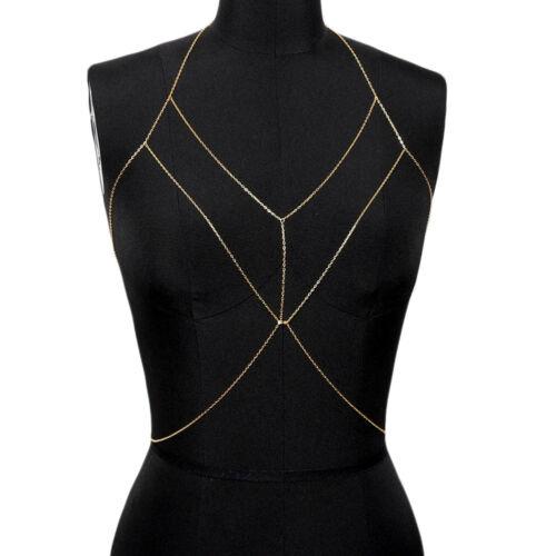 Women Full Metal Body Chain Chest Crystal Rhinestone Harness Bra Bikini Jewelry