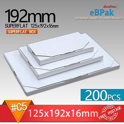 200x SuperFlat Mailing Box #B1 125x192x15mm #0B Rigid Envelope Mailer