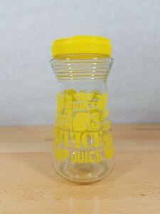 Yellow Glass Juice Carafe with Lid Lemon Design Vintage 1970/'s 24 Fluid Ounces